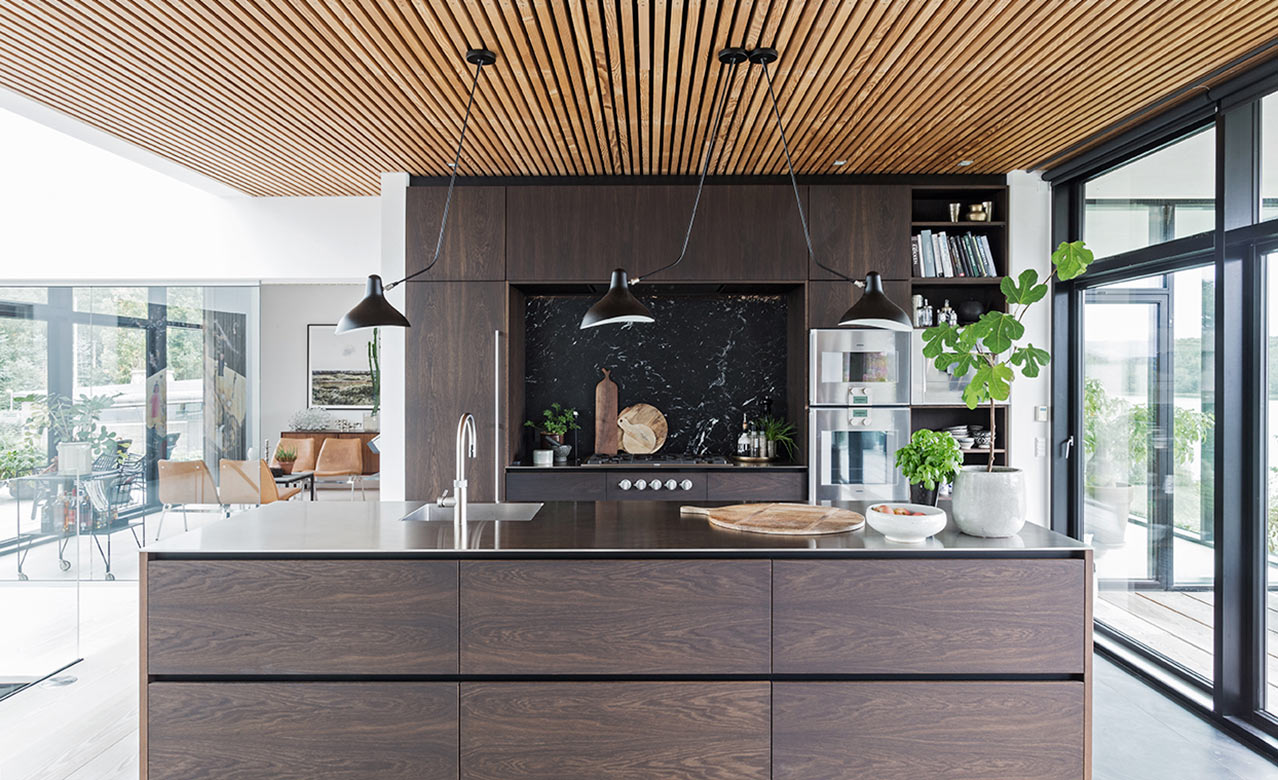 Form 6 design kitchen made from smoked oak