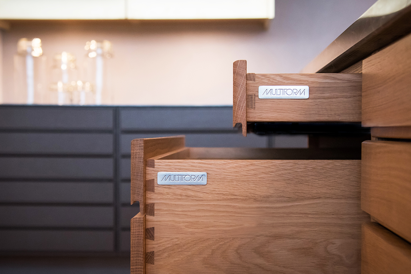 Handcrafted drawers made from oak at Multiform Aalborg